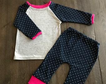Navy Blue Polka Dot Long Sleeve/Pant Girl Pyjama's