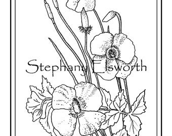 Poppy coloring page | Etsy
