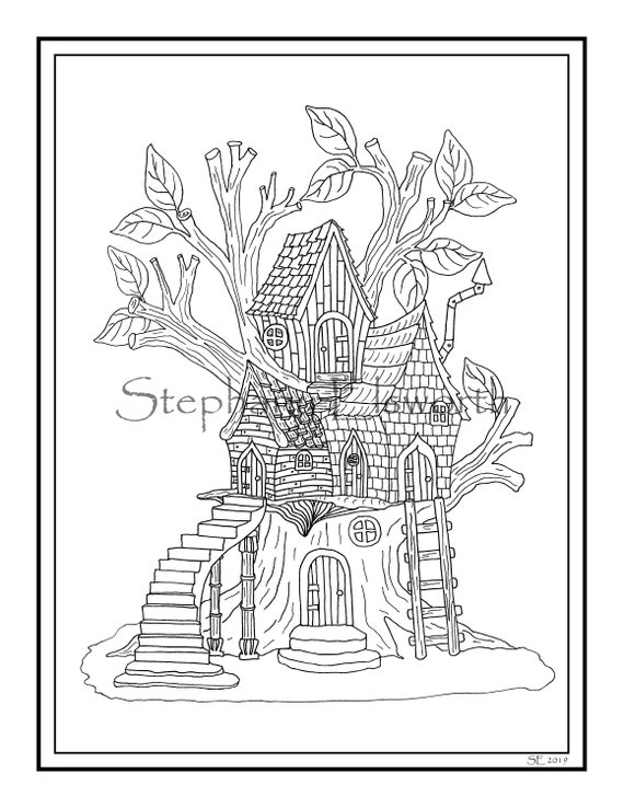 Fairy Treehouse 8 1/2 x 11 Printable Instant Download Coloring Page