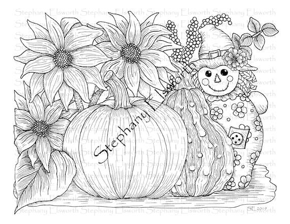 Pumpkin and Scarecrow Set of Three 8 1/2 x 11 Printable
