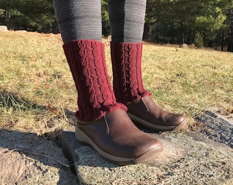 1f1b5e6d6 Cranberry Red Handknit Boot Cuff - Ankle Warmers - Leg Warmers