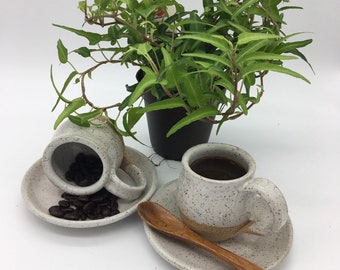 Espresso coffee. Set of Two Small Cup and Saucer. 2 fl oz. White Glaze, Speckled Clay, Pottery, New Home Gift , Espresso Gift, Coffee lovers