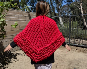 Christmas red knit shawl