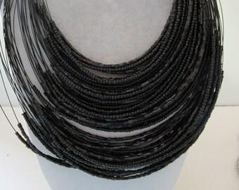"One  18"" Multi Strand Necklace w/ Black Beads"