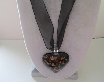 Glass Heart Necklace on a Ribbon