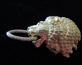 Lion Pin w/Gold tone Ring in His Mouth