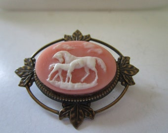 Vintage Pin with Mare & Colt