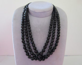 Triple Strand of Black Beaded Necklace