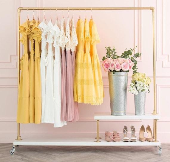 Gold Black Silver Rolling Rack, Rose Gold Garment Rack