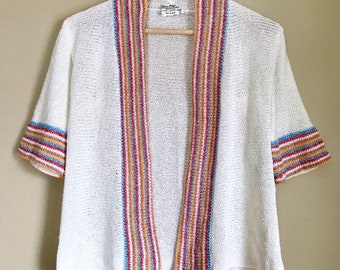 e7e0d4b43bdd1d 60s Small White and Striped Knit Cardigan by Levison Originals