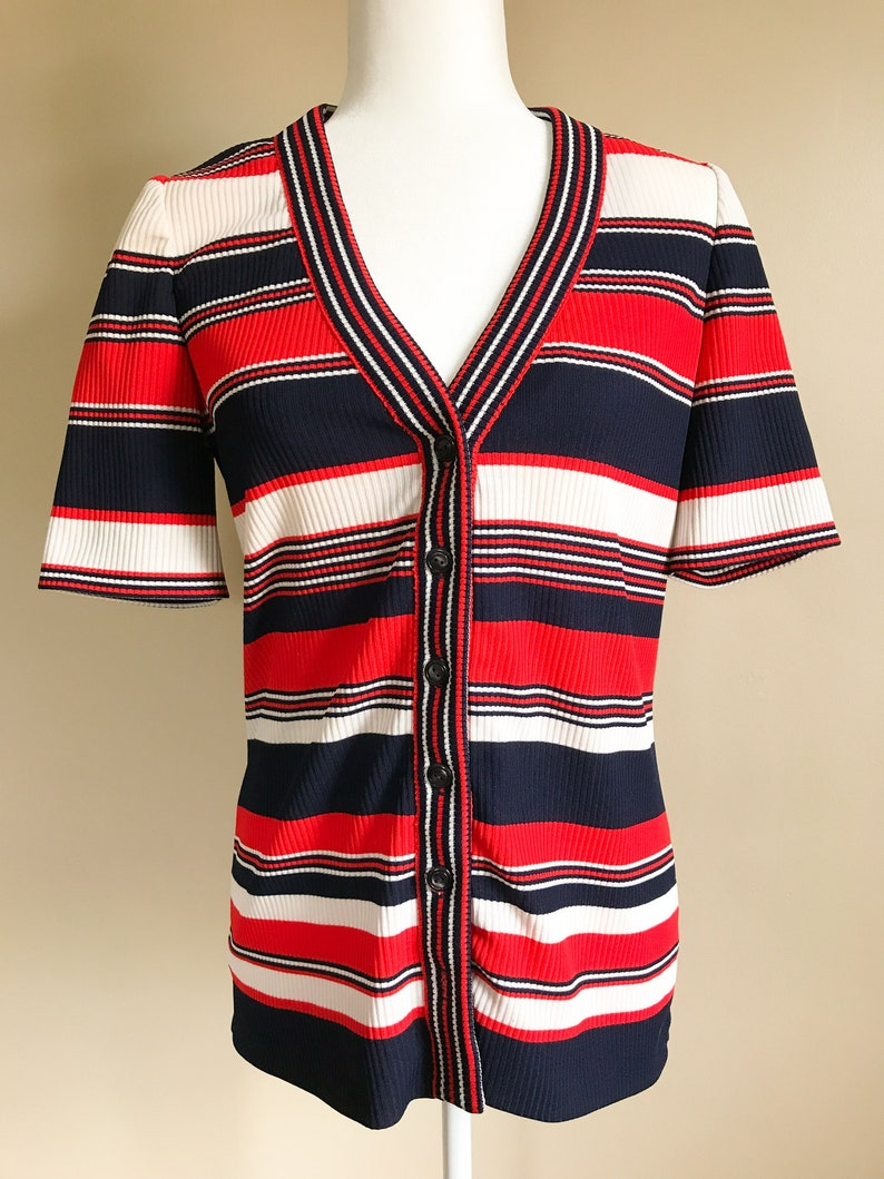 60s Navy and White Short Sleeve Striped Ribbed Cardigan MediumLarge Red