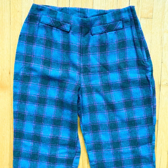 80s Turquoise Magenta Black Plaid Pants | Small - image 3