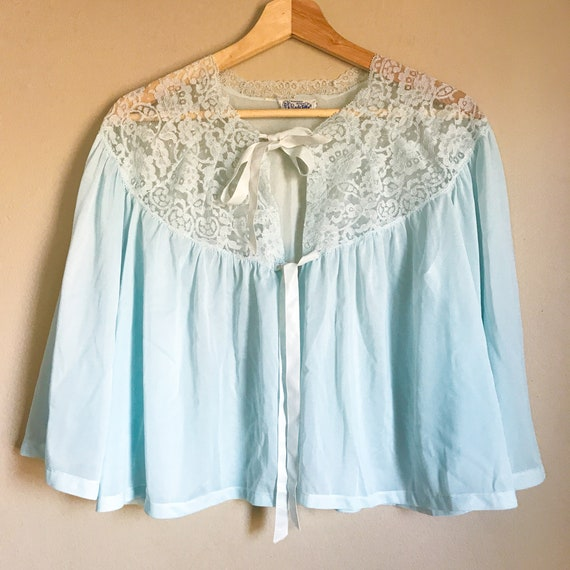 40s Light Blue Lace Lingerie Bed Jacket by Radclif