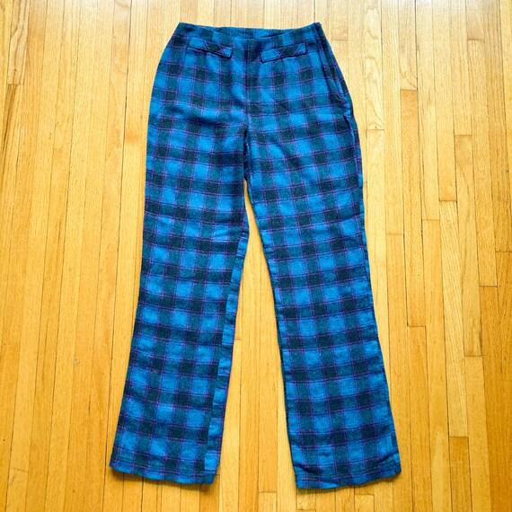 80s Turquoise Magenta Black Plaid Pants | Small - image 1