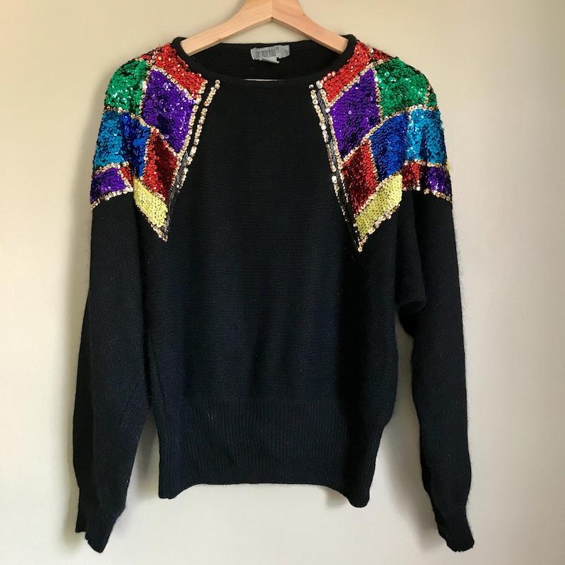 8d1b5d497c75e7 80s S/M Black Silk Angora Blend Sweater with Sequin Diamonds   Etsy