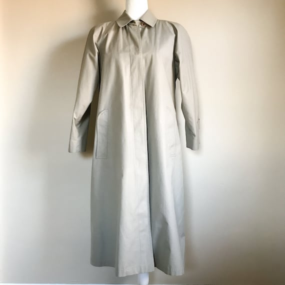80's Light Olive Green Trench Coat with Thermal Li