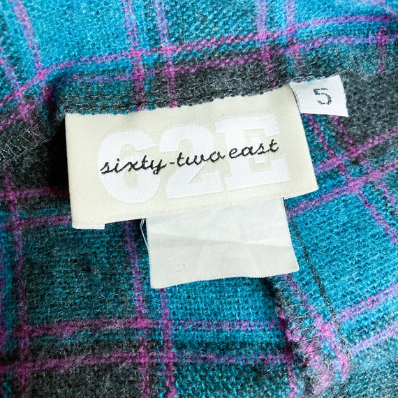 80s Turquoise Magenta Black Plaid Pants | Small - image 6