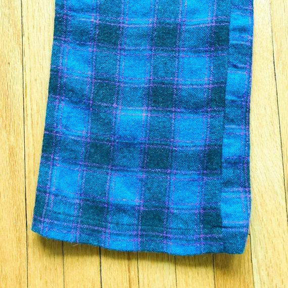 80s Turquoise Magenta Black Plaid Pants | Small - image 4