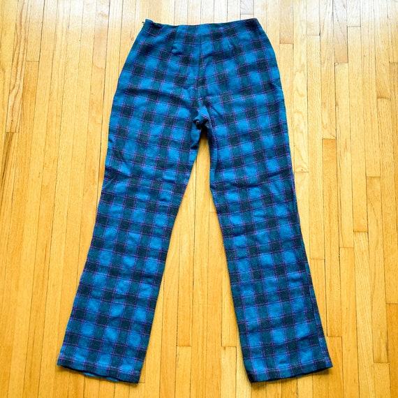 80s Turquoise Magenta Black Plaid Pants | Small - image 2