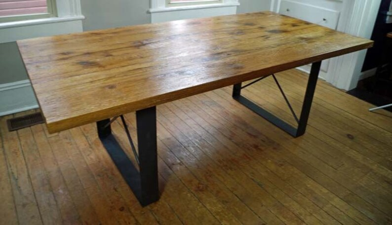 Rustic Oak Harvest Dining Room Table  Handmade Rustic Table  image 0