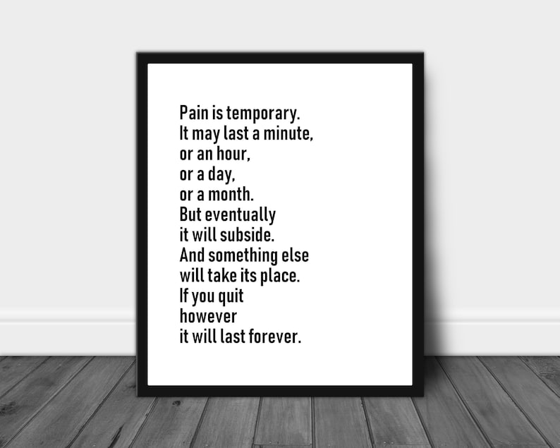 Pain Is Temporary Eric Thomas Motivational Typography Workout Etsy
