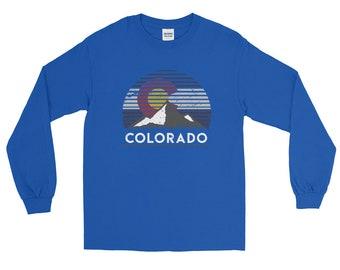Colorado Flag Mountain Top Long Sleeve T-Shirt