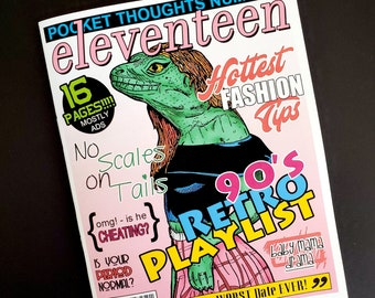 Pocket Thoughts #ELEVENTEEN - a zine with art, horoscopes, a quiz, hot fashion tips, model profile, Q&A, the worst dates ever, and more!