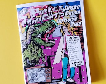 Pocket Thoughts #12 - a jumbo sized color and activity zine with 24 pages of mazes, puzzles, crossword, word searches, and pictures to color