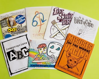 Pocket Thoughts Zine Bundle Pack - Specials - Inappropriate ABCs, funny comics, Flossy, Misuses of the Word Vagina, and Sporks Illustrated