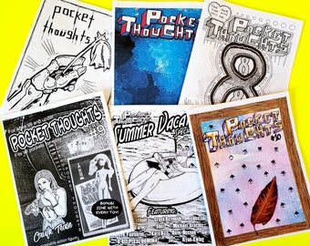 Pocket Thoughts Zine Bundle Pack - #6-10 and Summer Special - featuring art, prose, comics, poetry, humor, photography, rants, and more!