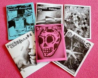 Pocket Thoughts Zine Bundle Pack - Issues #1-5 + Annual #1 - featuring art, prose, comics, poetry, humor, photography, rants, and more!