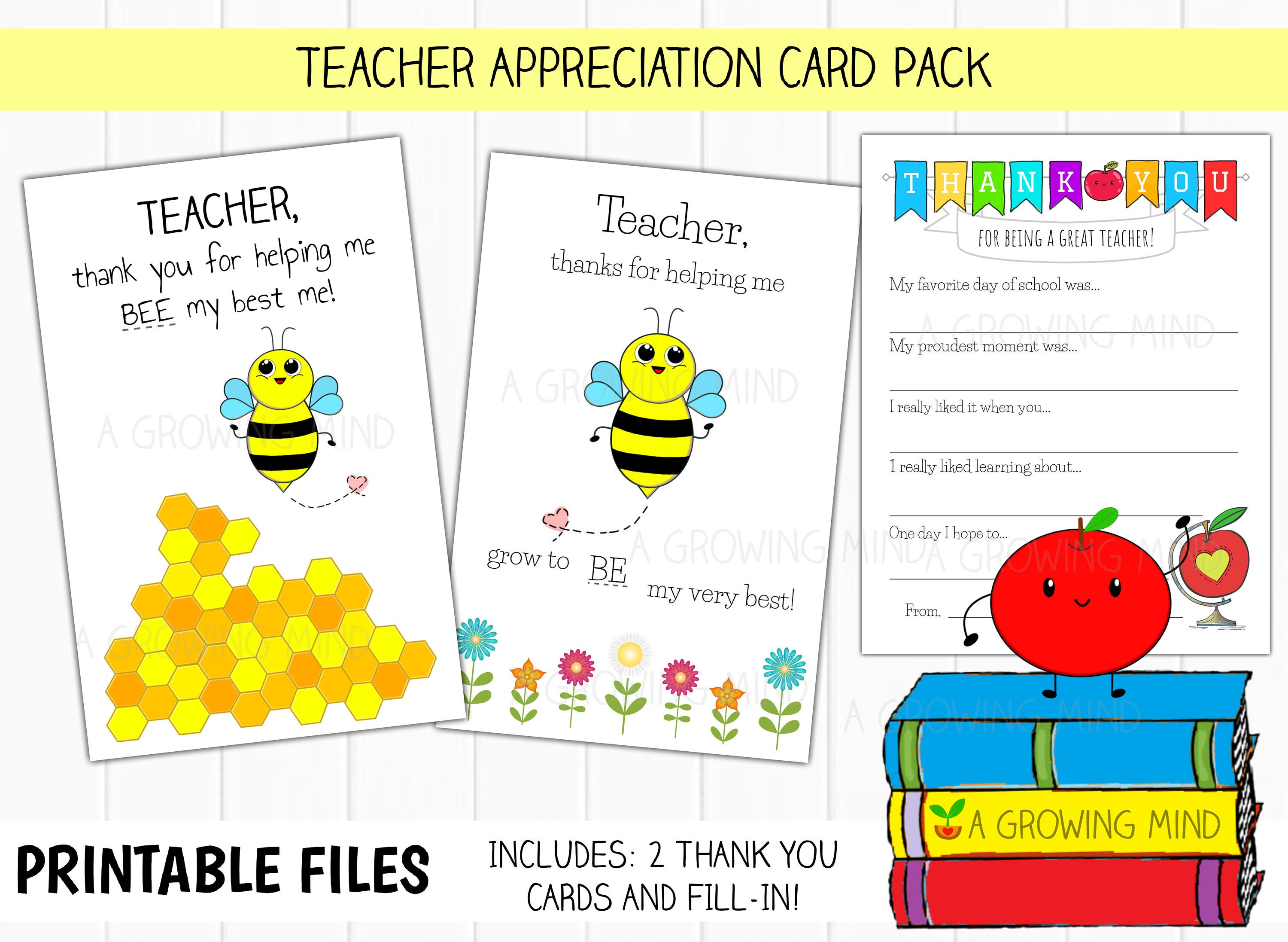 picture regarding Printable Teacher Thank You Cards known as PRINTABLE Instructor Thank Your self Card, Stop of Yr Instructor Appreciation, Printable Fill within Trainer Card, 100th Working day of College
