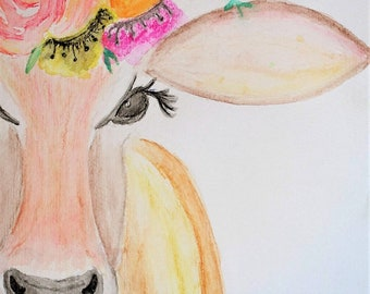 Flower Crown Cow - Original