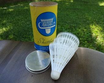 Sporting Goods Vintage Can Of 6 Carlton Shuttlecocks Badminton Birdies Blue Medium Made England