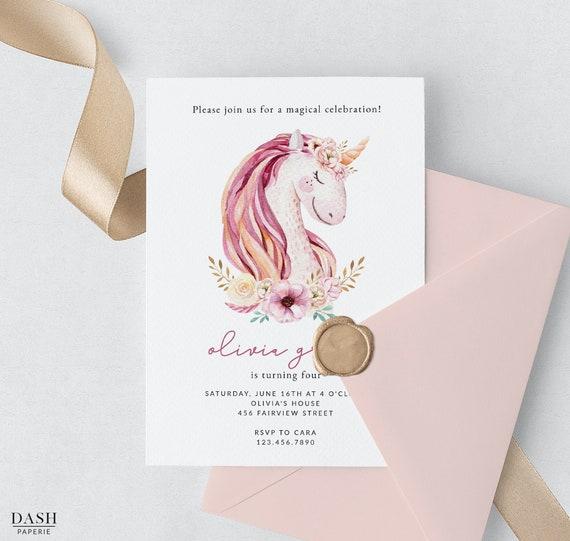Pink Unicorn Birthday Invitation Template, Printable Unicorn Party  Invitation, Floral Unicorn Invites, Magical Unicorn, Photo Option, DP-017