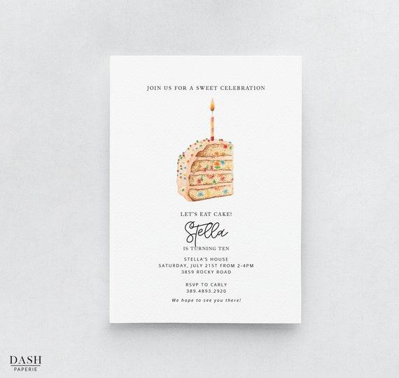 Birthday Cake Party Invitation Template Printable Cake Etsy