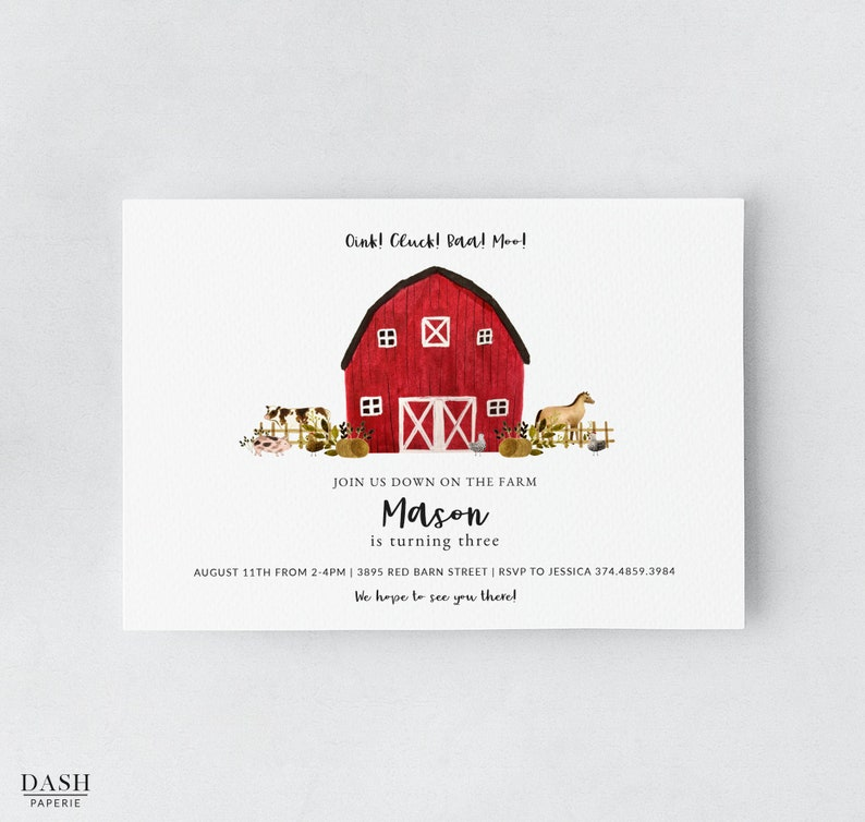 Farm Animal Birthday Invitation Template Printable Party