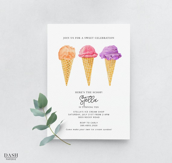picture about Ice Cream Cone Template Printable referred to as Ice Product Birthday Social gathering Invitation Template, Printable Crimson Ice Product Cone Celebration Invite, Red Ice Product Social, Customized, DP-001