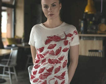 Rats // Hand-printed Tee / lino cut / lino print / top / blood / run / Bukowski / fair clothes / natural /dark/ unique design /warable art