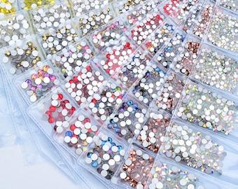 1500pcs SS 6 8 10 12 16 20 Mix Size Glass Nail Rhinestones Round Crystal AB  Clear Nail Crystals Strass Flat Back Glue On Stones Gems e2b26599716b