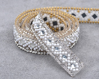 5 Yard 15mm Clear White Hotfix Rhinestones Chain Mesh Iron On Glass Crystals  Beads Appliques Trim Strass Crystals Band For Clothes 540e8d110b04