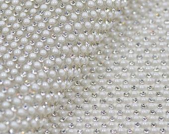 24 40cm Hotfix Pearl Rhinestones Mesh Trim Rhinestones Sheet Fabric White  Pearl Beads Appliques Iron On Clear Crystal Strass Band For Craft e4fd32ebc226