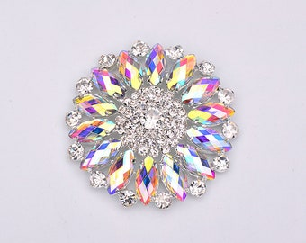 2 pcs 50mm Big Sewing Crystal AB Flowers Rhinestones Glass Beads Appliques  Sew On Silver Gold Claw Crystal Strass Flatback Round Stones d46120ce8c4a