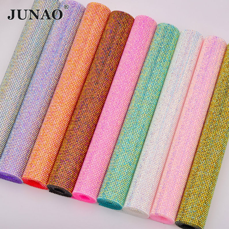 7814369591 JUNAO SS6 Hotfix Colorful AB Rhinestone Trim Fabric Sheet Crystal Ribbon  Tape Diamond Mesh Strass Applique For DIY Decoration