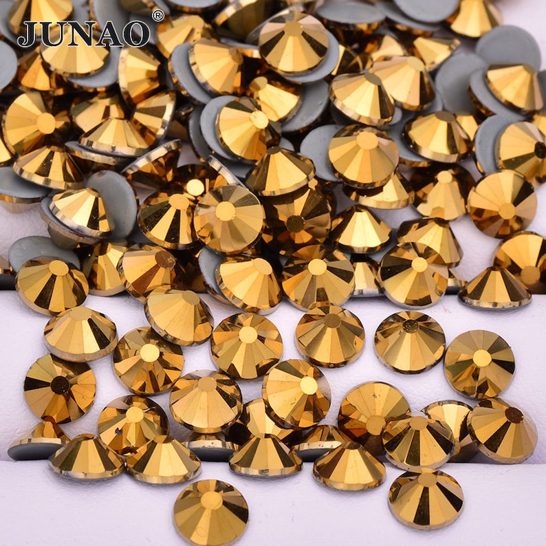 ccd1952265 SS6 SS10 SS16 SS20 SS30 Gold Hotfix Glass Rhinestones Hot Fix Crystal  Strass Flat Back Iron On Crystal Stones For DIY Clothes Dress