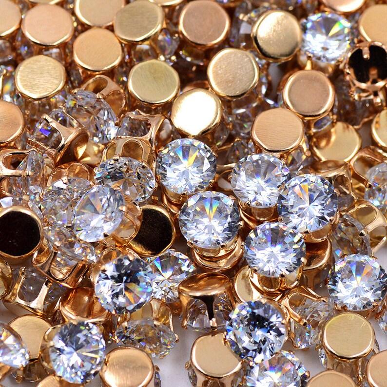 c8d020b65 50pcs SS38 8mm Sewing Clear Zircon Crystals Claw Rhinestones | Etsy