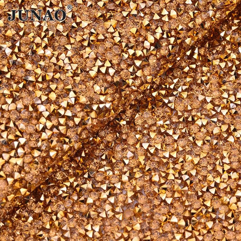 02e7987b12 JUNAO 24*40cm Gold Rhinestones Mesh Trim Resin Crystal Beads Fabric Sheet  Strass Appliques Banding For Jewel Handmade Crafts