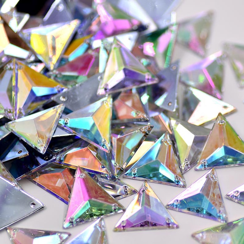 17mm Sewing Crystal AB Triangle Rhinestones Sew On Acrylic  d75c31d2d5b4