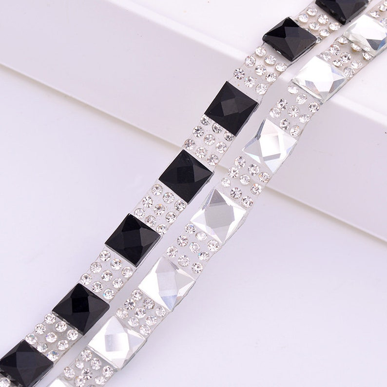 04e381598b JUNAO 5 Yard*8mm Clear Black Square Rhinestones Chain Trim Glass Beads  Fabric Mesh Hotfix Crystal Applique Band Strass Ribbon
