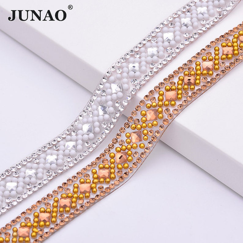 27110cc977 JUNAO 5 Yard*14mm Clear Brown Color Hotfix Rhinestones Fabric Chain Trim  Glass Mesh Crystal Appliques Strass Band For DIY Dress
